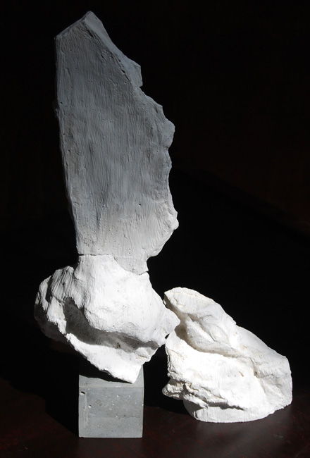 Bird and Block is fine art sculpture made of varying types of plaster and cement. Artwork by Andrew Miguel Fuller. AM Andy Fuller