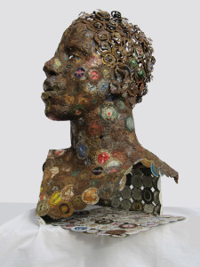Eyes are the Window, sculpture by AM Andy Fuller. Bottle cap assemblage art artwork. Andrew Miguel Fuller sculpture