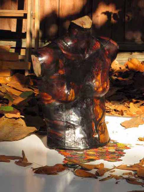 Autumn Shadow is a mixed media assemblage art sculpture. Artwork by Andrew Miguel Fuller. AM Andy Fuller