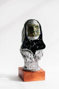 Untitled (mask & hoodie)- Fine art sculpture by Andrew Miguel Fuller - Nickel plated steel metal artwork by Andy Fuller