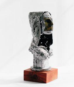 Untitled (mask & hoodie) - Fine art sculpture by Andrew Miguel Fuller - Nickel plated steel metal artwork by Andy Fuller