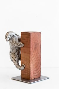 Study for climbing bear II - Fine art sculpture by Andrew Miguel Fuller - Metal artwork by Andy Fuller - aluminum, redwood