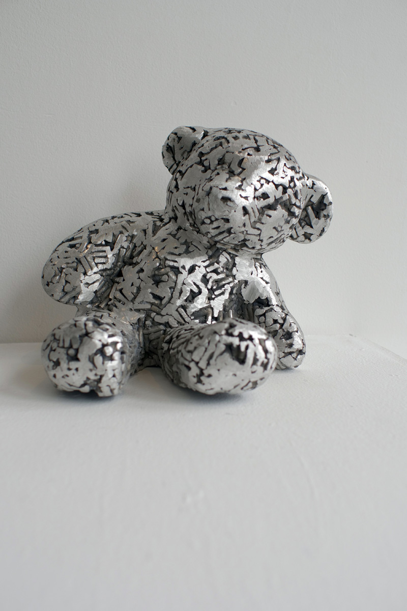Bear study no. 4. Fine art sculpture by Andrew Miguel Fuller - Fabricated aluminum artwork by Andy Fuller - welded aluminum