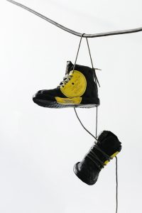 Out with the new! - Fine art sculpture by Andrew Miguel Fuller - Assemblage artwork by Andy Fuller - vinyl records, shoe laces.