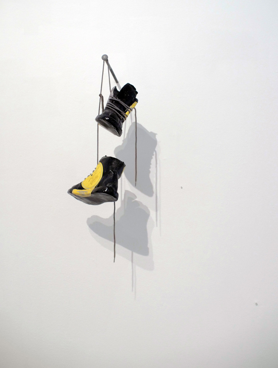 Out with the new! - Fine art sculpture by Andrew Miguel Fuller - Assemblage artwork by Andy Fuller - vinyl records, shoe laces. Installation view at Mercury Twenty Gallery in Oakland, CA