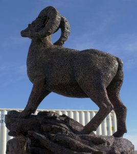 Ram of the West. Fine art sculpture by Andrew Miguel Fuller - Fabricated bronze public artwork by Andy Fuller - welded bronze, commissioned by Ram of the West in Lancaster, CA