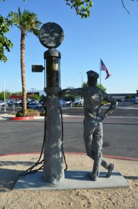 Old Fashioned Service, commissioned by H.W. Hunter, inc in Lancaster, CA. Sculpture by Andrew Miguel Fuller - AM Andy Fuller art artwork metal galvanized steel sculpture