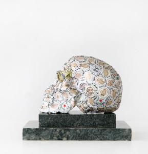 Charon, fine art sculpture by AM Andy Fuller. Bottle cap assemblage artwork.