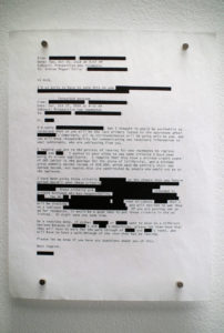 Ink on airmail paper, transcript of email by Andrew AM Fuller.