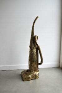 Polished brass sculpture by Andrew Miguel Fuller. Fabricated artwork by AM Andy Fuller.
