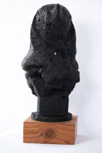 Untitled (Ghost) is a tar and steel sculpture by Andrew Miguel Fuller. BLM / Black Lives Matter artwork by AM Fuller.