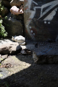 One Hundred Stone Cat Project. Public art sculpture by AM Fuller. Concrete garden cats by Andrew Miguel Fuller.
