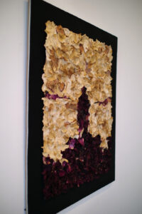 Wander above the sea of fog is an assemblage rose petal painting by AM Fuller. Flower sculpture by Andrew Miguel Fuller.